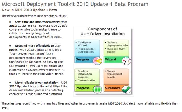 BETA: Microsoft Deployment Toolkit 2010 Update 1 | Kurt