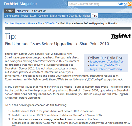 """INFO: """"Find Upgrade Issues Before Upgrading to SharePoint"""