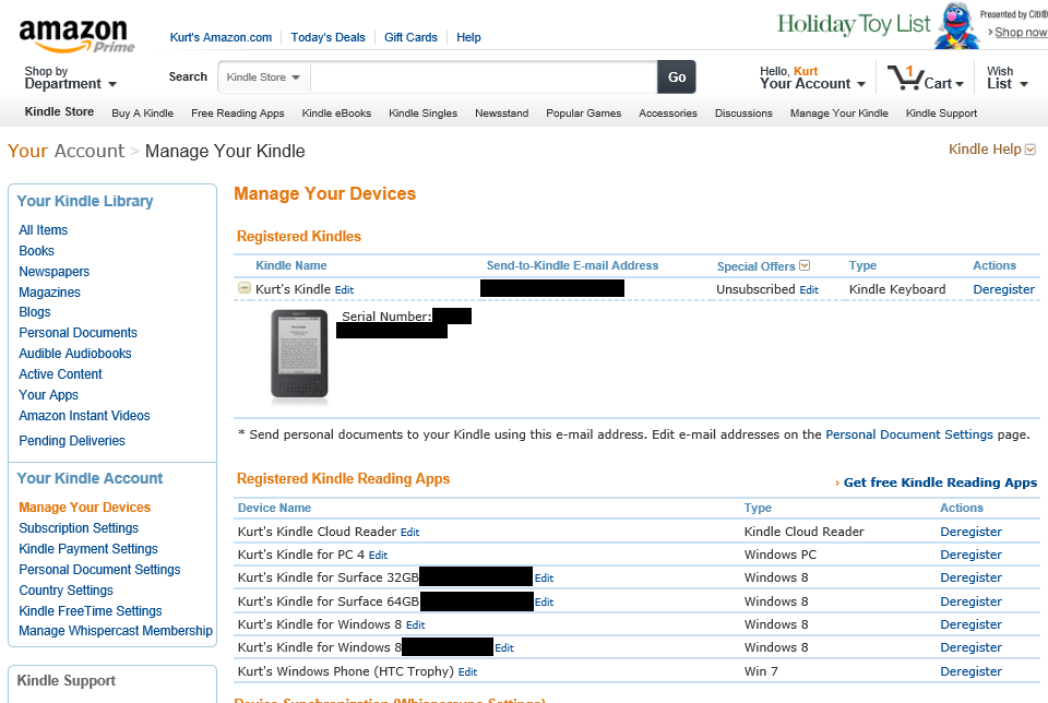 HOWTO: Remove devices from your Amazon Kindle account | Kurt