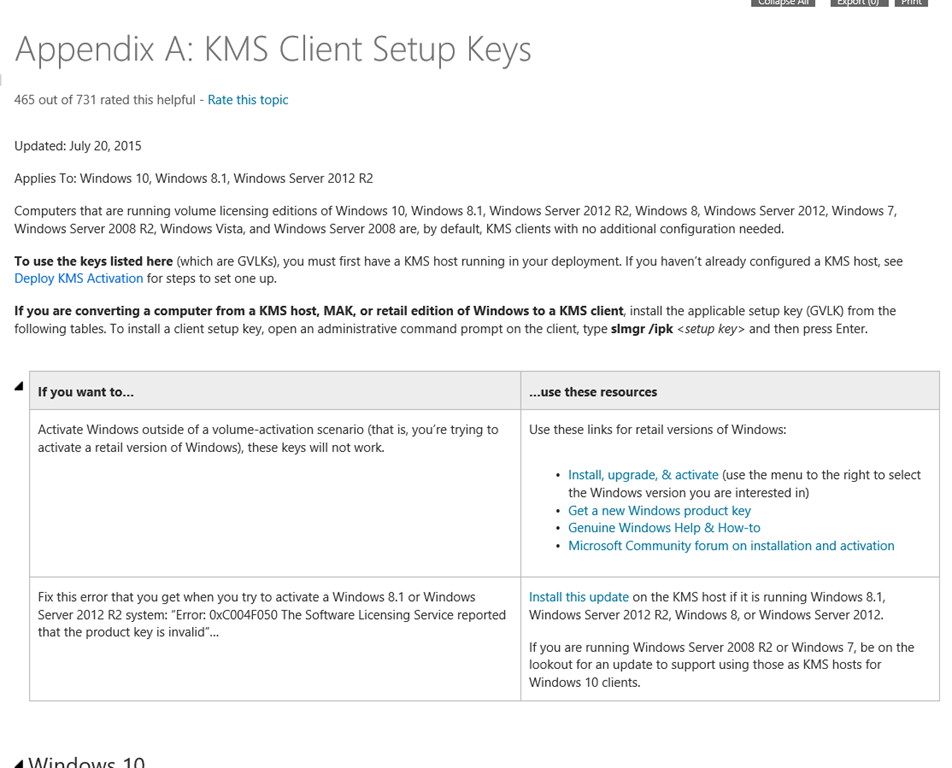 key management service for windows 10