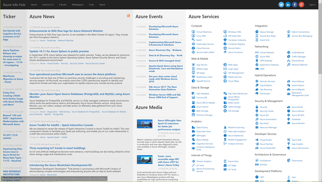 "INFO: ""Azure InfoHub"" – News, Docs, Videos, Online Training about"