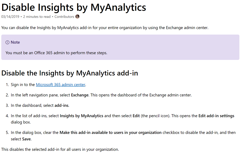 INFO: Disabling Insights from MyAnalytics in Office 365 E3